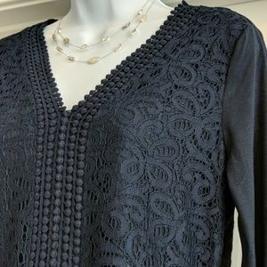 Lace detail tunic in navy blue, NWT